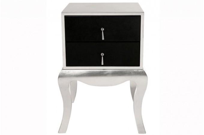 Chevet baroque argent et noir luxury tables de chevets - Table de chevet argente ...
