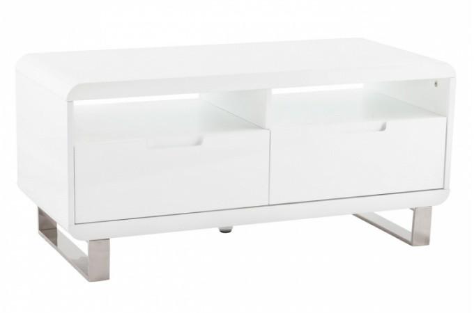 Meuble tv laqu blanc tommy meubles de rangement pas cher for Meuble tv petit format