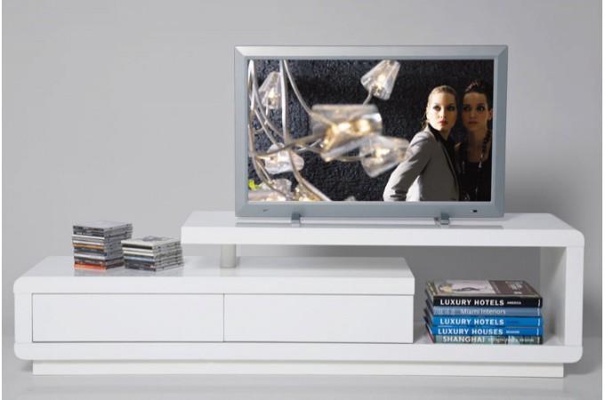 Meuble tv blanc laqu avec tiroirs people meubles tv pas - Meuble salon laque blanc ...