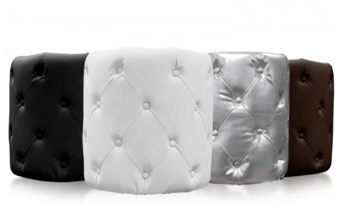 pouf rond capitonn blanc viky poufs petits tabourets. Black Bedroom Furniture Sets. Home Design Ideas