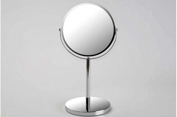 Miroir d 39 appoint sur pied en verre argent pablo salle for Petit miroir rond sur pied