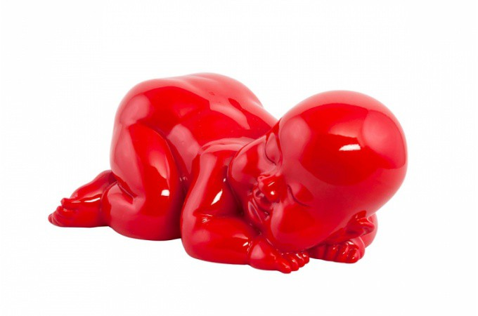 statue b b endormi rouge statues d co pas cher declik deco. Black Bedroom Furniture Sets. Home Design Ideas