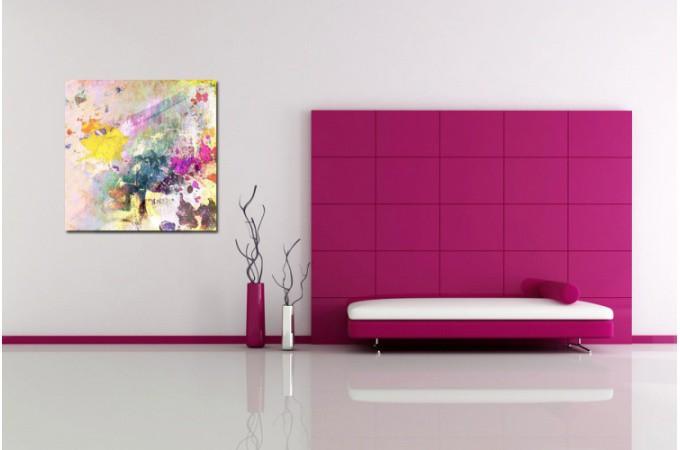Tableau abstrait multicolore maelo 80x80 cm tableaux abstraits pas cher for Photo de tableau abstrait