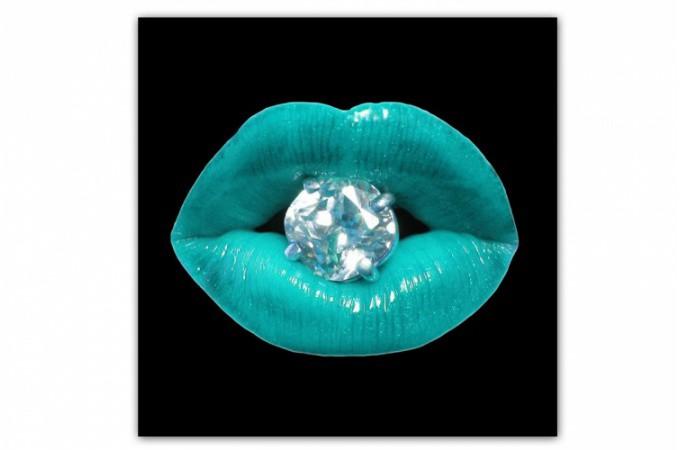 tableau pop bouche diams bleu turquoise 60x60 cm. Black Bedroom Furniture Sets. Home Design Ideas
