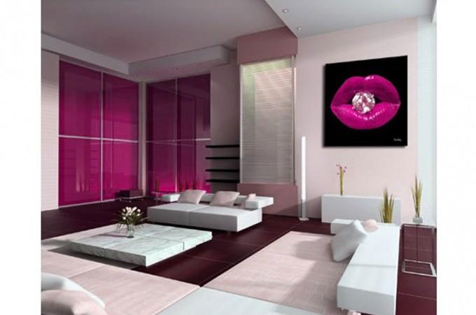 Tableau pop bouche diams fushia 50x50cm tableaux bouches pas cher for Peinture rose fushia