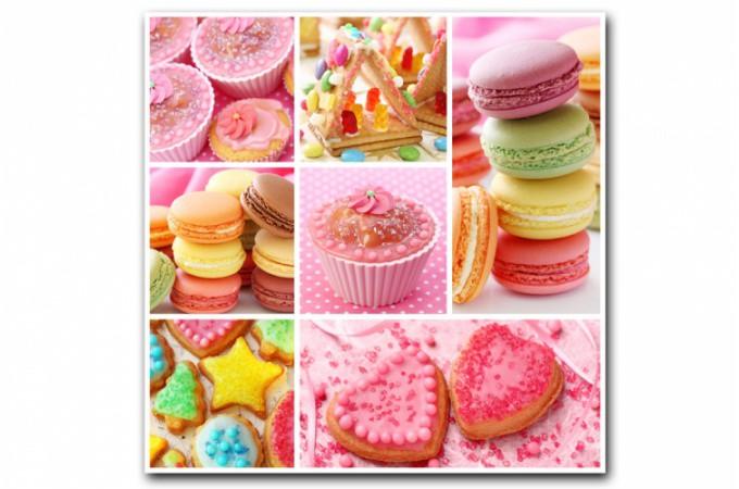 Tableau gourmand multicolore cupcakes 80x80 cm tableaux gourmands pas cher for Tableau cuisine pas cher