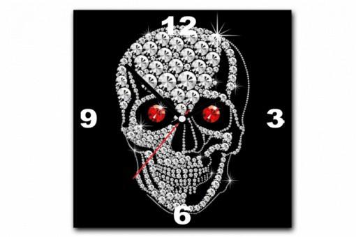 tableau horloge rock 39 n 39 roll tete de mort strass 30x30 cm. Black Bedroom Furniture Sets. Home Design Ideas