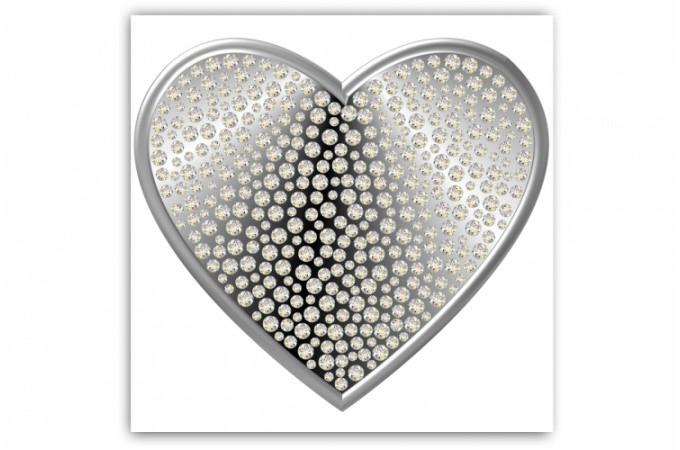 Tableau romantique coeur argent et strass 80x80 cm - Tableau pour chambre romantique ...