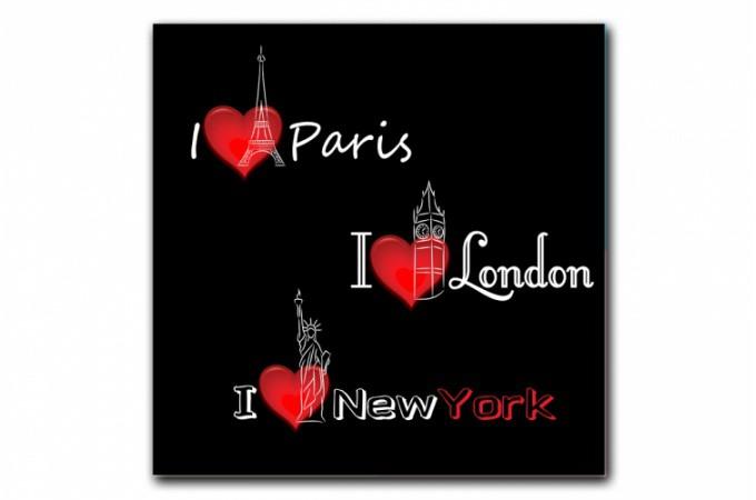 tableau new york paris londres voyage 50x50 cm tableaux villes pas cher. Black Bedroom Furniture Sets. Home Design Ideas