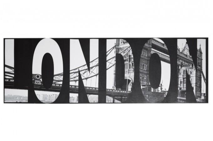 Tableau noir et blanc london 45 x 140 cm tableau design tableau villes declikdeco - Tableau noir et blanc design ...