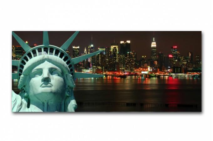 Tableau panoramique new york liberty 90x30 cm tableaux villes pas cher - Definition de panoramique ...