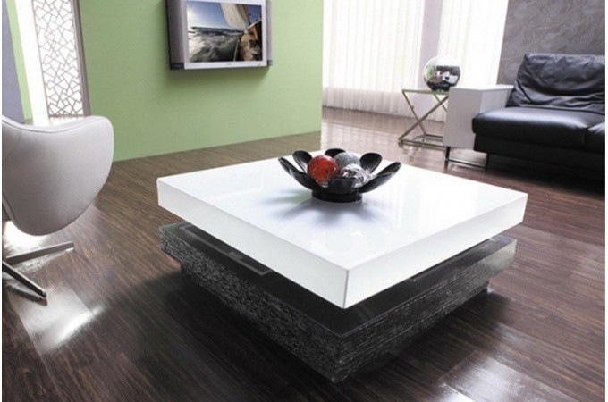 Table basse amovible en bois bicolore domino tables for Idee deco salon pas cher