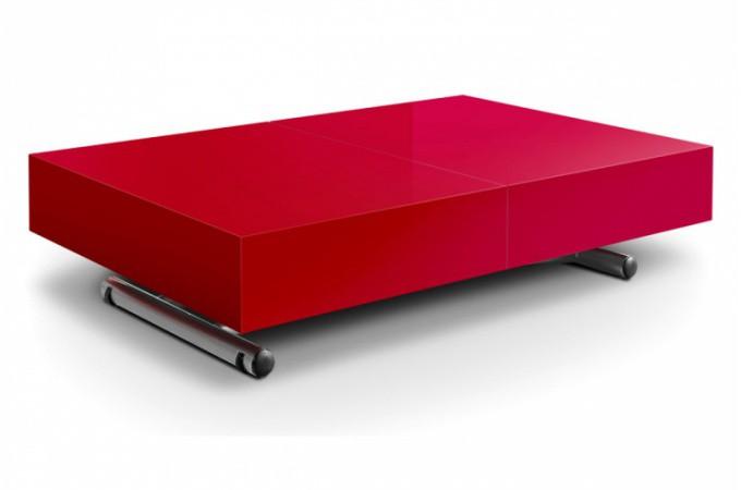 Table basse relevable rallonge rouge laqu extencia - Table basse rouge laque ...