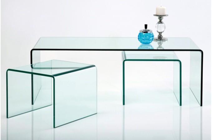 Set de 3 tables gigognes en verre fidji tables basses for Deco table basse en verre