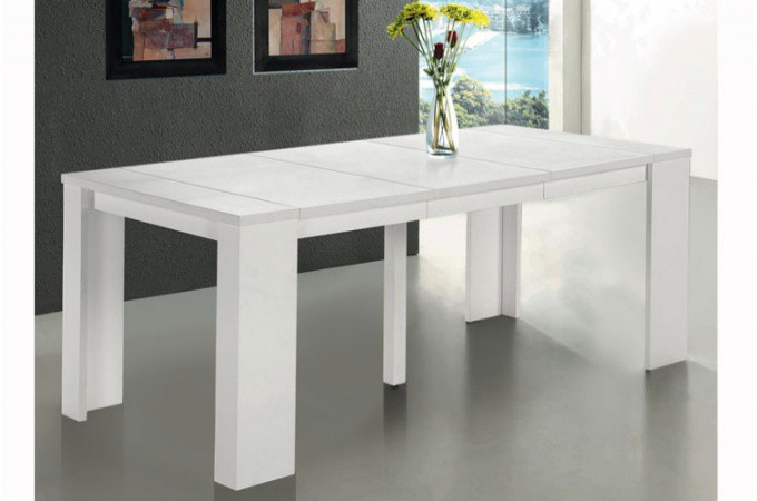 Console blanche rallonge for Table blanche extensible