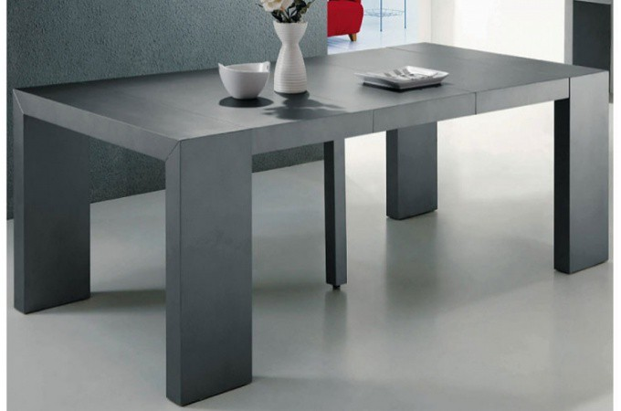 Table console extensible transformable gris satin - Table salle a manger grise ...