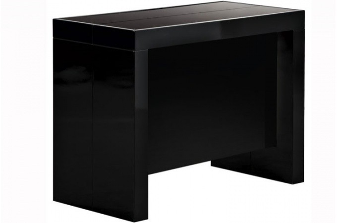 table console extensible transformable avec rangement noir laqu. Black Bedroom Furniture Sets. Home Design Ideas