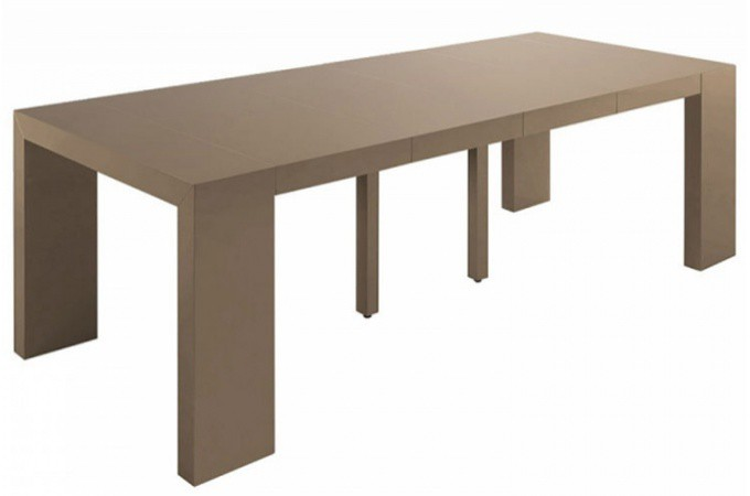 Table console extensible transformable taupe laqu for Table extensible 4 metres