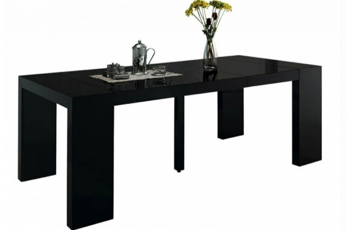 Table console extensible noir laqu pas ch re - Table extensible pas chere ...
