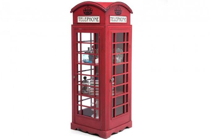 Meuble de rangement cabine t l phoniue rouge achat for Meuble de bar design