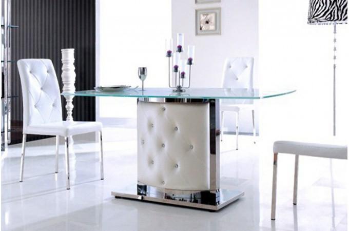 Table de salle manger pied capitonn carla declikdeco for Salle a manger baroque design