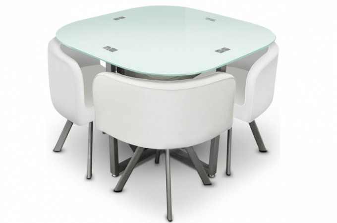 Table repas damier 4 chaises blanche tables manger pas for Table blanche avec chaise