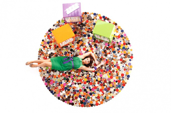 tapis rond design en cuir multicolor 250x250 tapis. Black Bedroom Furniture Sets. Home Design Ideas