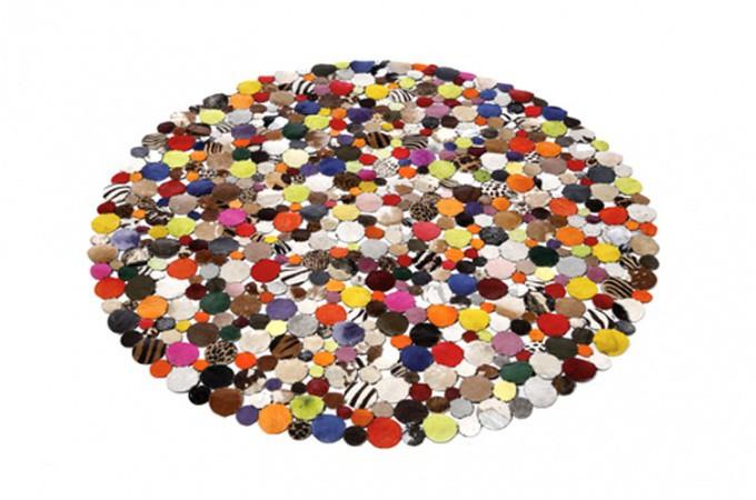 tapis rond design en cuir multicolor 150x150 tapis design pas cher. Black Bedroom Furniture Sets. Home Design Ideas