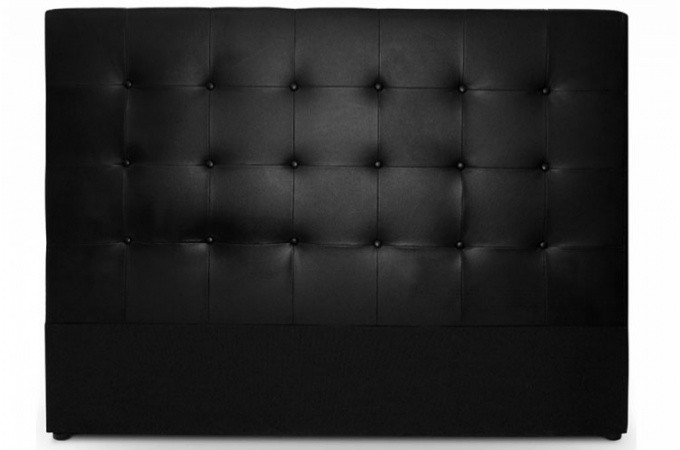 t te de lit capitonn 140 cm en cuir noir achat t te de lit matelass e pas ch re. Black Bedroom Furniture Sets. Home Design Ideas
