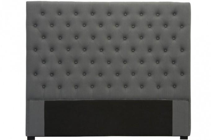 t te de lit capitonn e en lin anthracite 180 cm t tes de. Black Bedroom Furniture Sets. Home Design Ideas
