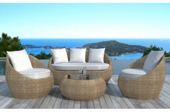 salon de jardin en r sine tress e ronde beige salon de. Black Bedroom Furniture Sets. Home Design Ideas