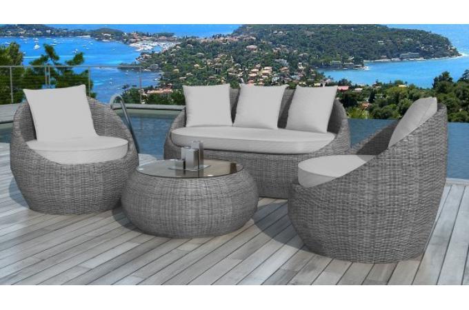 salon de jardin en r sine tress e ronde gris salon de jardin pas cher. Black Bedroom Furniture Sets. Home Design Ideas
