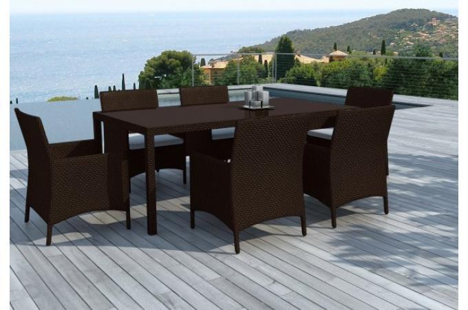 Table et chaises 6 places r sine tress e chocolat salon - Table de jardin resine tressee places dijon ...
