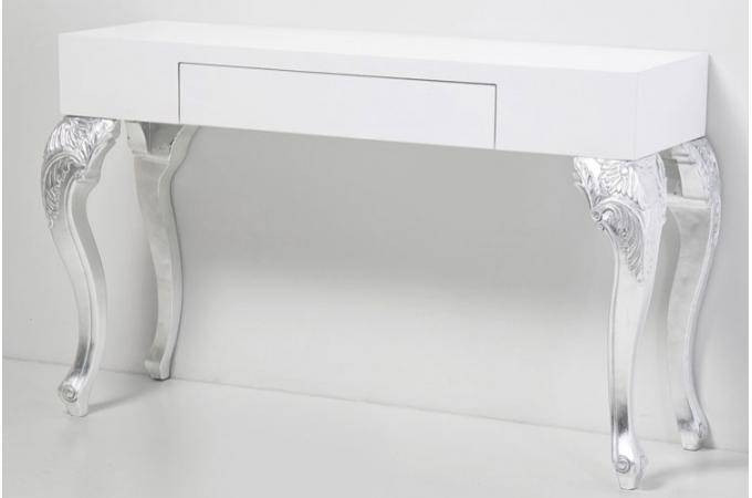Console baroque bicolore ph dra tiroir rangement argent declikdeco - Console moderne pas cher ...