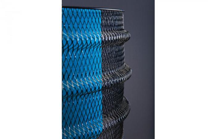 Lampadaire Bois Et Metal : Lampadaire industrie en bois et m?tal bleu Manhattan