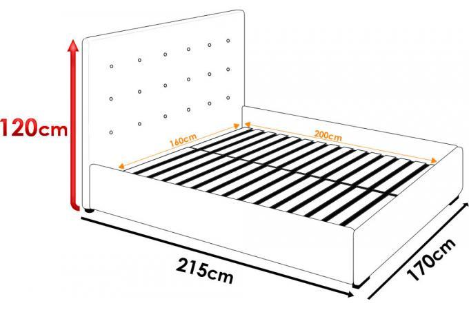 Lit coffre avec t te de lit capitonn e blanc 160x200 cm lit design pas cher - Tete de lit 160x200 ...