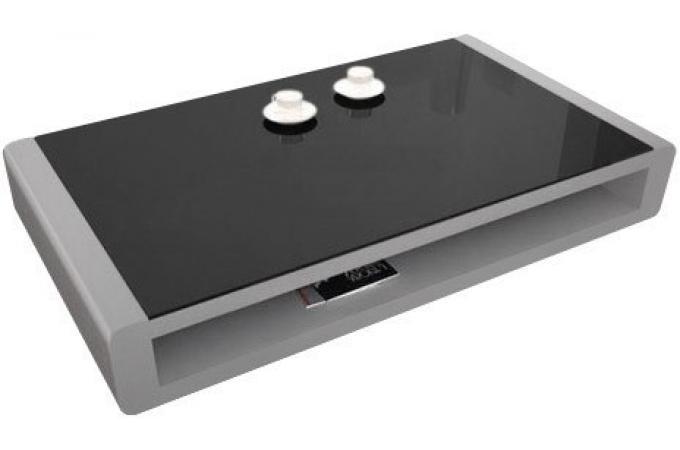 Table basse gris clair laquée avec plateau en verre fumé Willy  Table Basse  -> Table Basse Grise Laquée Pas Cher
