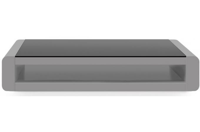 Table basse gris clair laqu e avec plateau en verre fum - Table basse avec plateau en verre ...