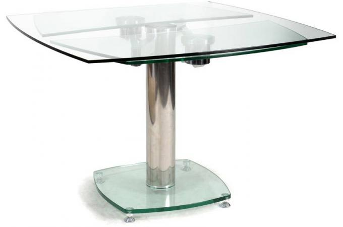 Table carr e avec allonges plateau verre transparent linda for Table carree a rallonge design