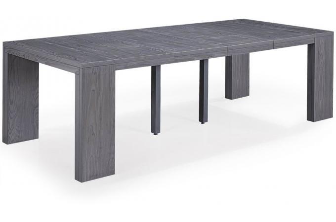 Table console extensible bois gris 4 rallonges xl table - Table console extensible bois ...