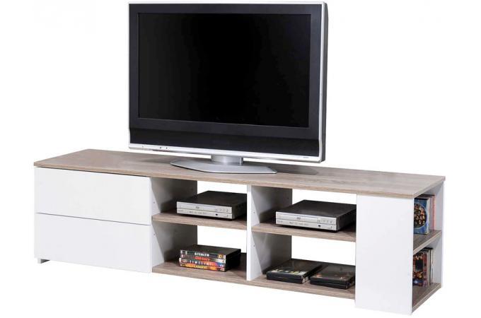 Meuble tv ch ne griff blanc meuble tv pas cher for Meuble tele blanc pas cher