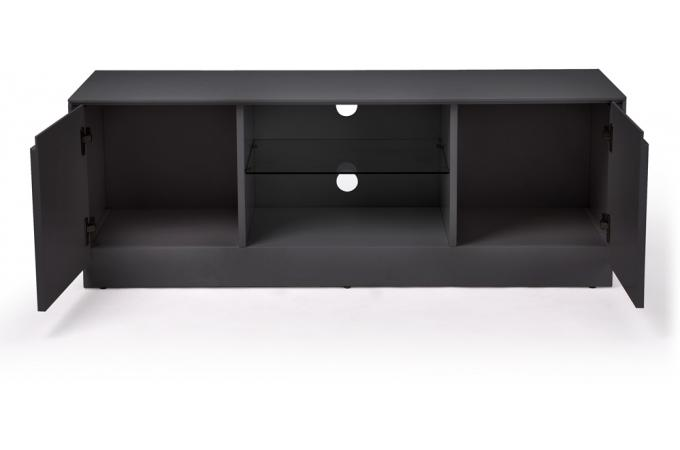 Meuble tv petit mod le soho 2 portes et 1 niche gris for Modele meuble tv