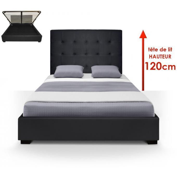 lit coffre trevene sommier 140cm noir chambre. Black Bedroom Furniture Sets. Home Design Ideas