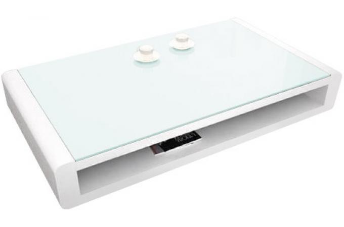Table basse blanche avec plateau en verre willy table - Table basse double plateau en verre ...