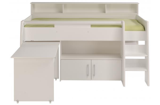 lit mezzanine avec bureau et petite armoire 2 portes sheen lit enfant pas cher. Black Bedroom Furniture Sets. Home Design Ideas