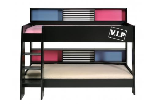 lits superpos s 90x200 noir vip lit design pas cher. Black Bedroom Furniture Sets. Home Design Ideas