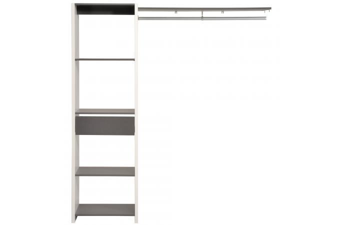 Penderie avec tag re de rangement couleur gris meuble - Etagere avec bac de rangement ...