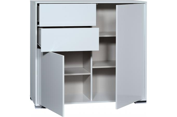 Banc tv hifi 1 porte ouvrante 2 tiroirs n 6 blanc vune for Banc tv hifi