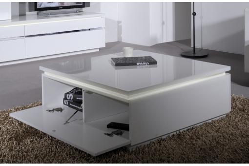 Table basse blanche carr e avec rangement et eclairage led - Table basse carree avec rangement ...