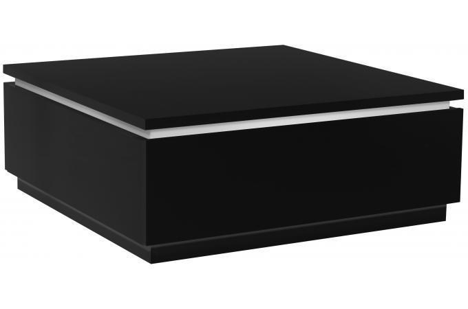 Table basse noire carr e avec rangement eclairage led - Table basse carree avec rangement ...